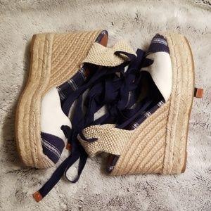 COACH Wedge Espadrille tie sandals